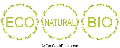 bio, セット, eco, ラベル, 有機体である, 自然, プロダクト, ∥あるいは∥