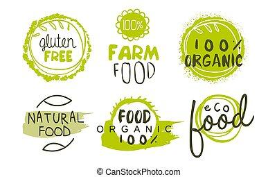 bio, バッジ, 有機体である, gluten, セット, 食物, ラベル, eco, 自然, 無料で, 手, プロダクト, 紋章, ベクトル, 緑, イラスト, 引かれる