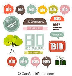 bio, プロダクト, セット, 自然, タグ, ラベル, -, 緑, ステッカー