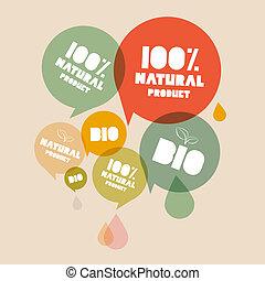 bio, プロダクト, セット, 自然, ラベル, イラスト, 緑, レトロ