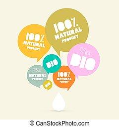bio, プロダクト, セット, 自然, ラベル, 緑, レトロ