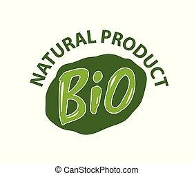 bio, プロダクト, 自然, レタリング, ラベル, 緑