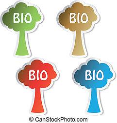 bio, ベクトル, ステッカー, 木