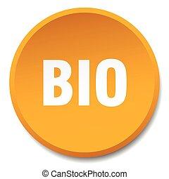 bio, 平ら, ボタン, 隔離された, オレンジ, 押し, ラウンド