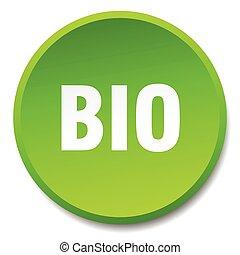 bio, 平ら, ボタン, 隔離された, 緑, 押し, ラウンド