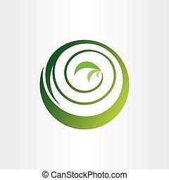 bio, 植物, エコロジー, らせん状に動きなさい, ベクトル, 緑, ロゴ, 円, アイコン