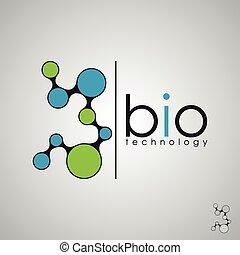bio, 生物学, 概念, dna, 技術, ロゴ, デザイン, ロゴ