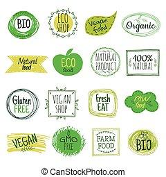 bio, 緑, 有機体である, 無料で, 自然, プロダクト, gluten, emblems., labels., セット, vegan, 食べなさい, ベクトル, 食物, eco, 健康, バッジ
