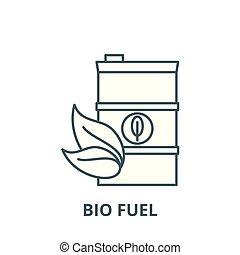 bio, 線である, 概念, シンボル, 印, ベクトル, 燃料, アイコン, 線, アウトライン