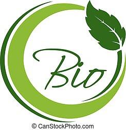 bio, 自然, 自然, 単純である, 葉, シンボル, ラベル, ベクトル, 緑, 要素, 円