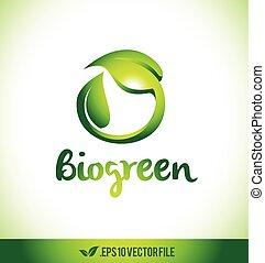bio, 葉, 葉, ロゴ, ロゴ, アイコン