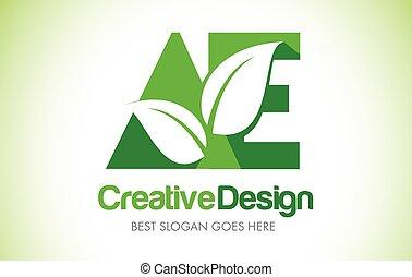 bio, 葉, eco, イラスト, 緑, 手紙, デザイン, ae, logo., アイコン