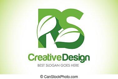 bio, 葉, rs, eco, イラスト, デザイン, 手紙, 緑, logo., アイコン