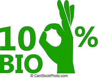 bio, 100, ベクトル, %, アイコン