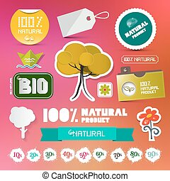 BIO - 100% Natural Labels Set on Blurred Background