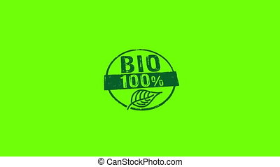 Bio 100 percent stamp and stamping isolated animation