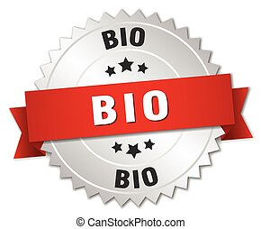 bio 3d silver badge with red ribbon