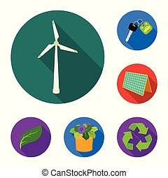 Bio and ecology flat icons in set collection for design. An ecologically pure product vector symbol stock web illustration.