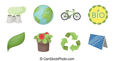 Bio and ecology icons in set collection for design. An ecologically pure product vector symbol stock web illustration.