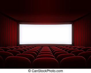 bio, avskärma, för, film, presentation