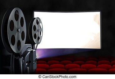 bio, avskärma, med, projektor