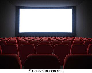 bio, avskärma, med, sittplatser