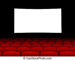 bio, avskärma, med, tom, sittplatser