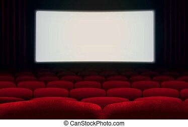 bio, avskärma, och, röd, sittplatser