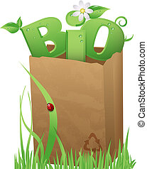 Recycled paper bag with fun Bio text in it