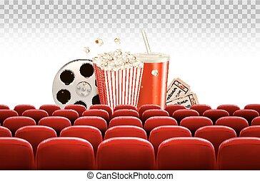 bio, bakgrund, med, a, filma rullen, popcorn, dricka, och, lottsedlar