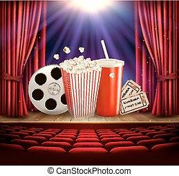 bio, bakgrund, med, a, filma rullen, popcorn, dricka, och, tickets., vector.