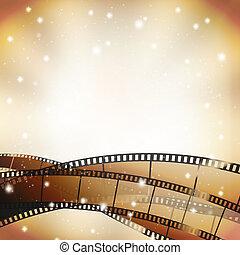 bio, bakgrund, med, retro, filmstrip, och, stjärnor