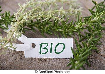 bio, biały, etykieta