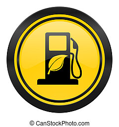 bio, biofuel, 黄色の符号, アイコン, 燃料, ロゴ