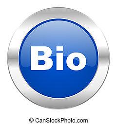 bio, blauwe , cirkel, chroom, web, pictogram, vrijstaand