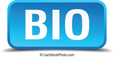 bio blue 3d realistic square isolated button