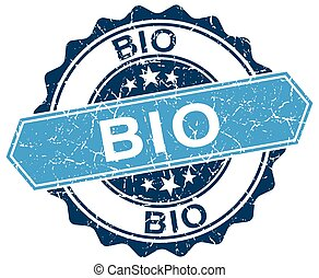 bio blue round grunge stamp on white