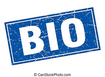 bio blue square grunge stamp on white