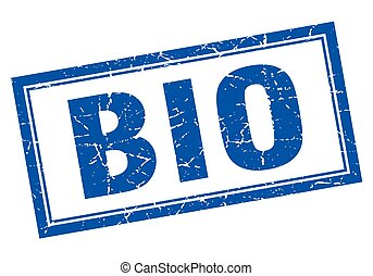 bio blue square grunge stamp on white