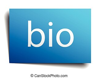 bio blue square isolated paper sign on white