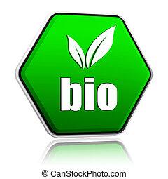 bio, bouton, feuille, vert, signe