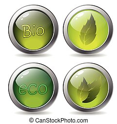Bio buttons  - Bio button set with text and leaves