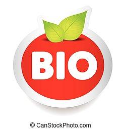 bio, cibo, etichetta, vettore