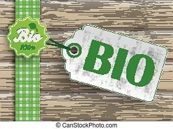 bio, cibo, prezzo, adesivo, etichetta