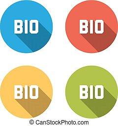 bio, colorito, icone, isolato, colletion, 4