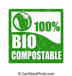 bio, compostable, estampilla