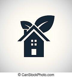 bio, concept, plat, eenvoudig, element, ontwerp, thuis, pictogram