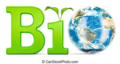 Bio concept with Earth Globe, 3D rendering