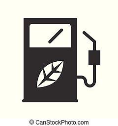 bio, concetto, energia, distributore, pulito, carburante, icona
