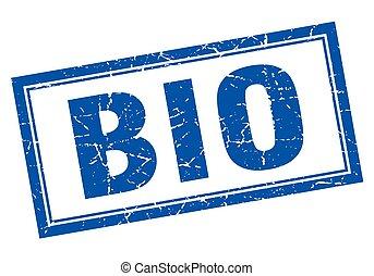 bio, cuadrado azul, grunge, estampilla, blanco